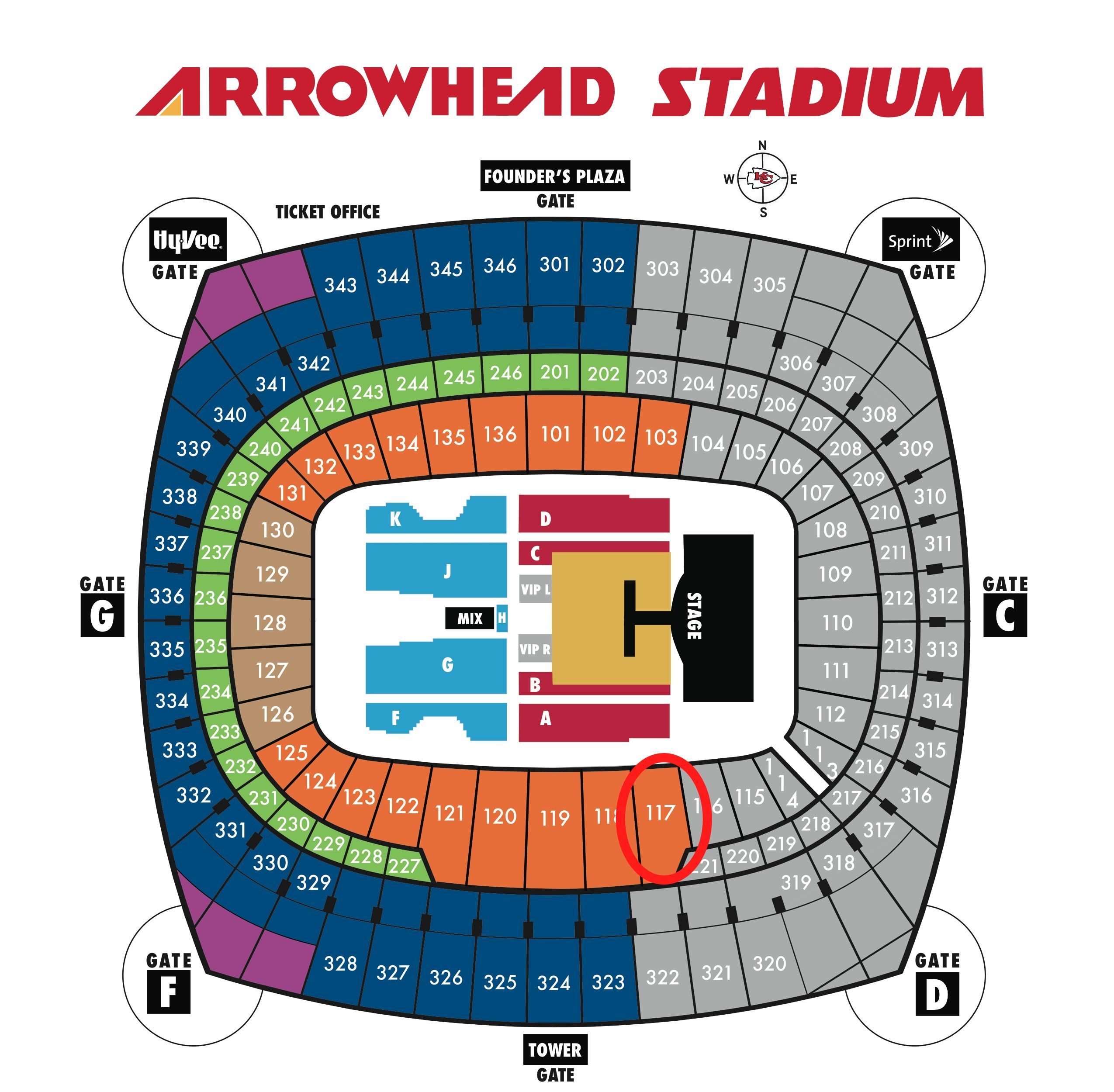 Arrowhead Stadium Seating Chart With Rows Google Search