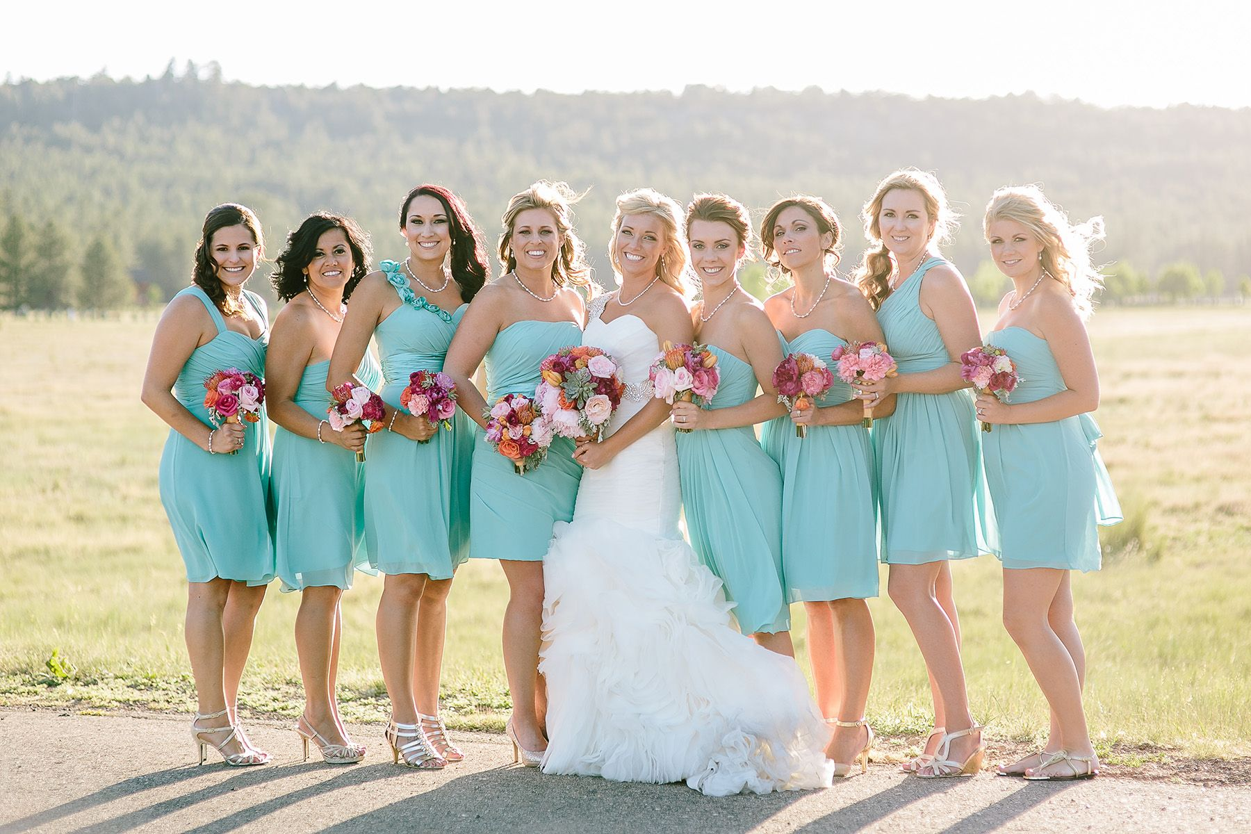 Short, Mismatched, Turquoise Bridesmaid Dresses with Red and Pink ...