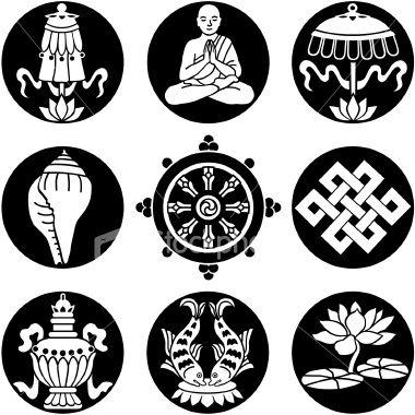 Vector Icons Of The Eight Buddhist Treasures Buddhists Buddhist