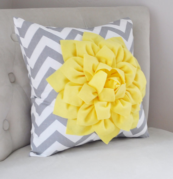 Large Bright Yellow Dahlia On Gray And White Zig Zag Pillow 14