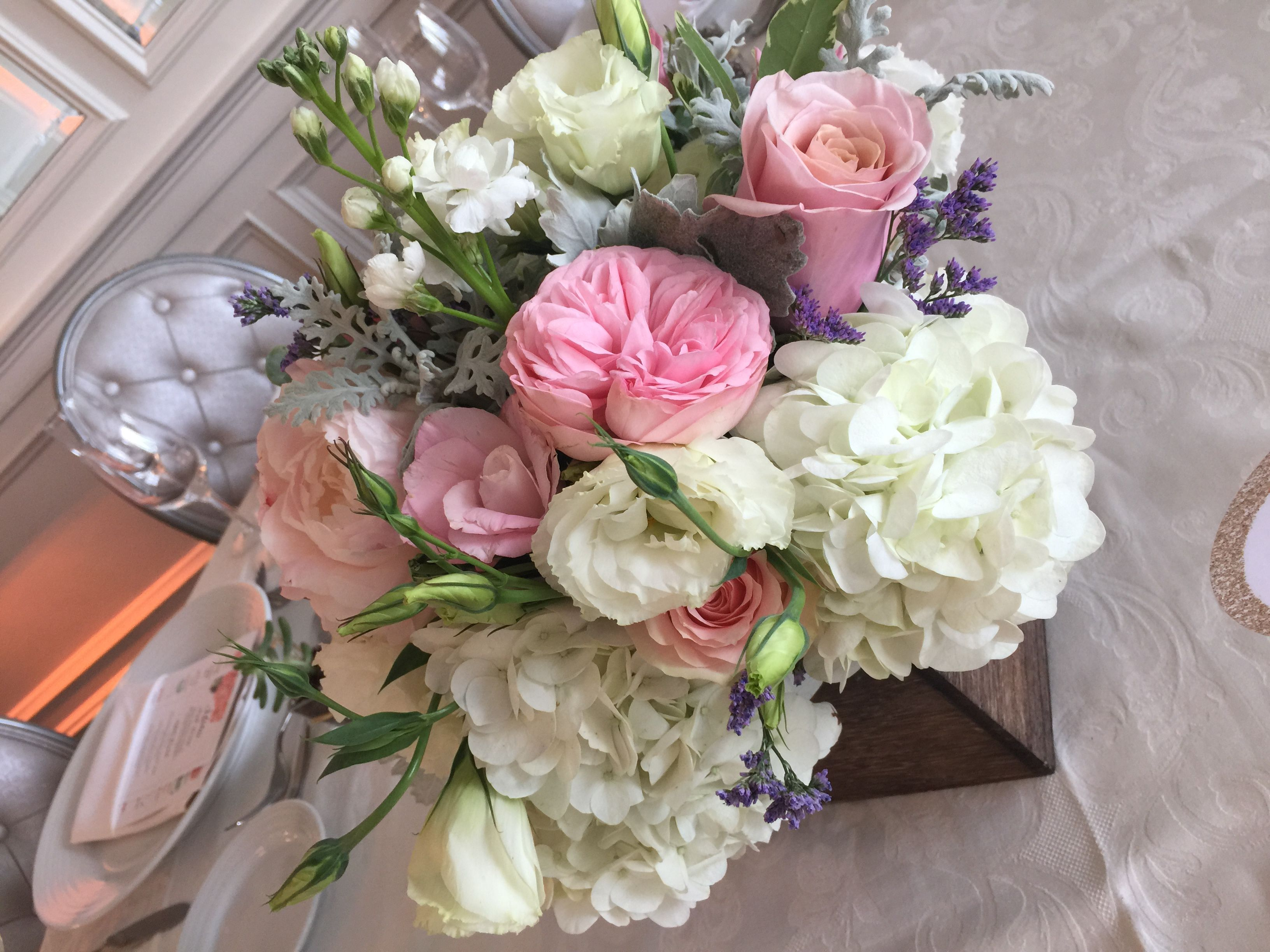 rustic wooden box centerpiece with hydrangea pink garden roses blush pink roses succulents