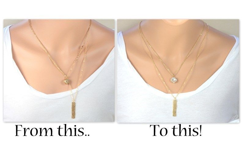 I love the layered look of dainty necklaces worn at