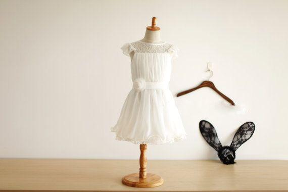 Lace Chiffon Cap Sleeves Flower Girl Dress by fashiongirldress