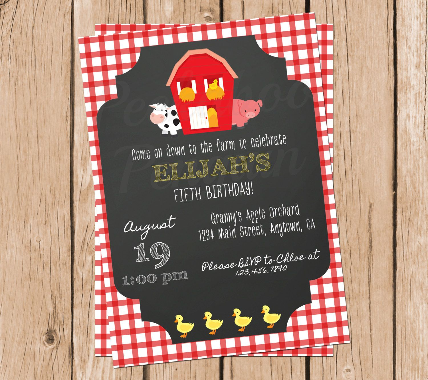 Farm Birthday Invitations, Picnic Invites, Ranch Birthday Party Invites, Printable