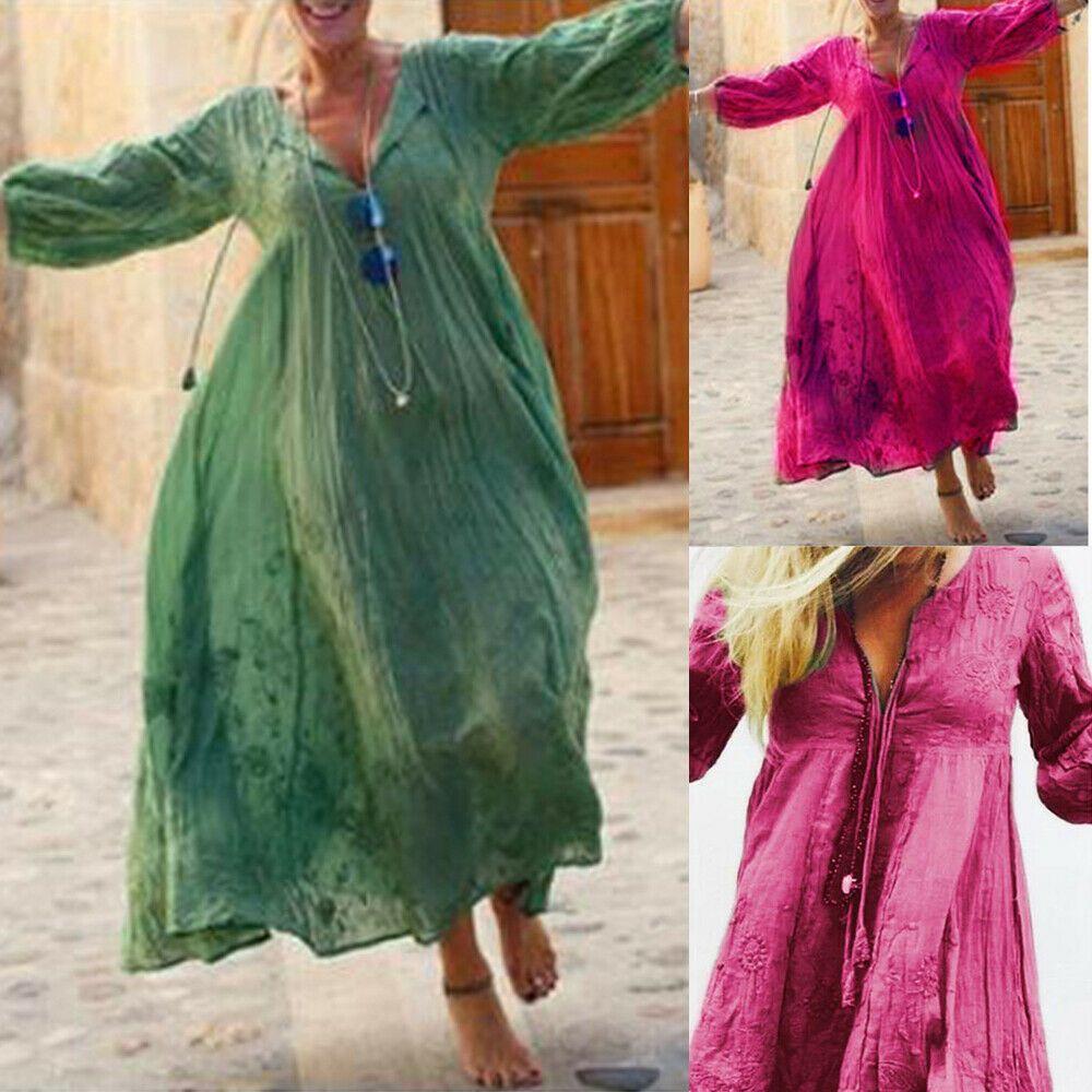 vestido de verano vestido bohemio manga larga grande swing