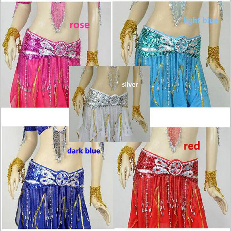 2016 New Belly Dance Costume Handmade Sequins Waist Belts Belly Dancing Scarves For Women On Sale 11 Colors