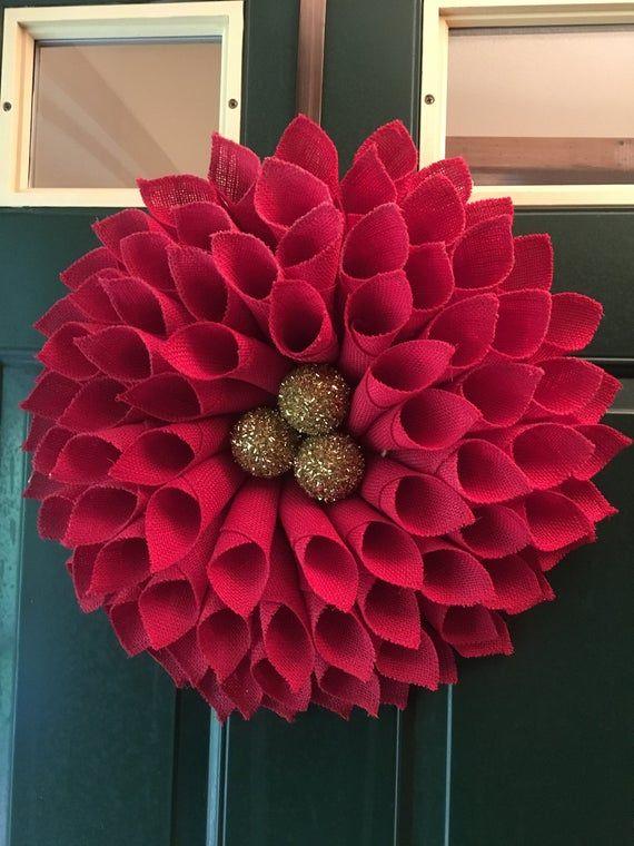 Große rote Poinsettia Kranz rot Sackleinen Kranz Weihnachtskranz Winter Kranz Vortür Kranz Haus Erwärmung Geschenk Urlaub Kranz
