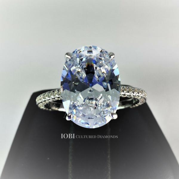 Alexandra 5ct Oval Petite French Pave Crown Iobi Simulated Diamond Ring Cultured Diamonds Simulated Diamond Rings Engagement Oval Diamond Engagement Ring