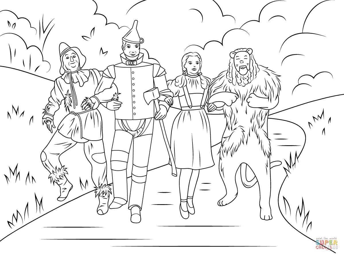 Scarecrow, Tin Man, Dorothy And Cowardly Lion Coloring ...