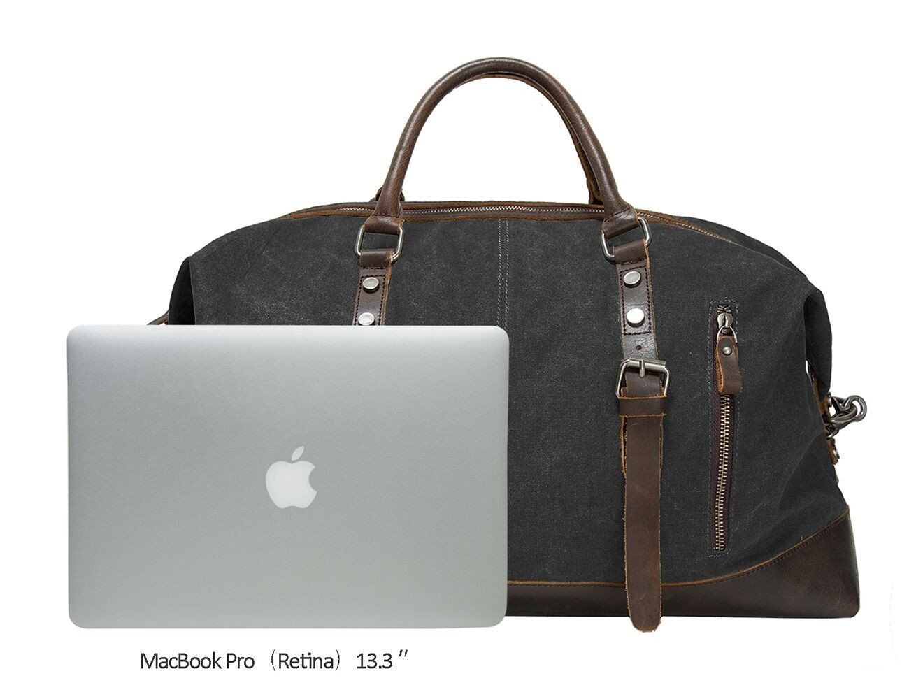 Premium density canvas with top quality genuine leather trim and vintage  zinc alloy hardware is