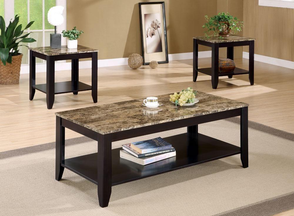 Coaster cs155 marble like coffee table set in brown in