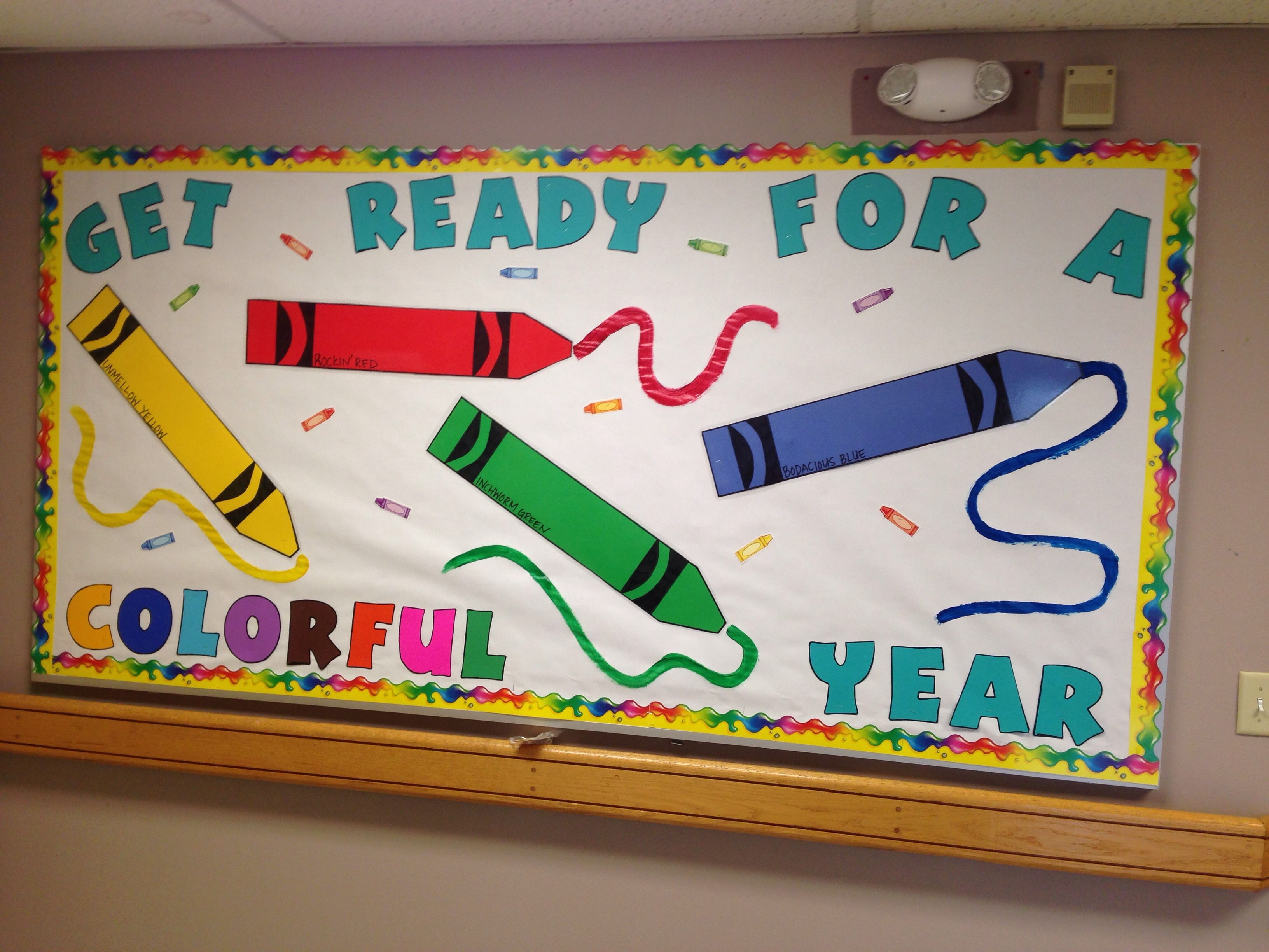 Crayon bulletin board for back to school! | Back to school ...