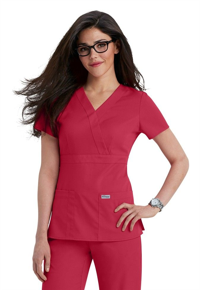Greys Anatomy 3 Pocket Mock Wrap Scrub Top Scrubs And Beyond