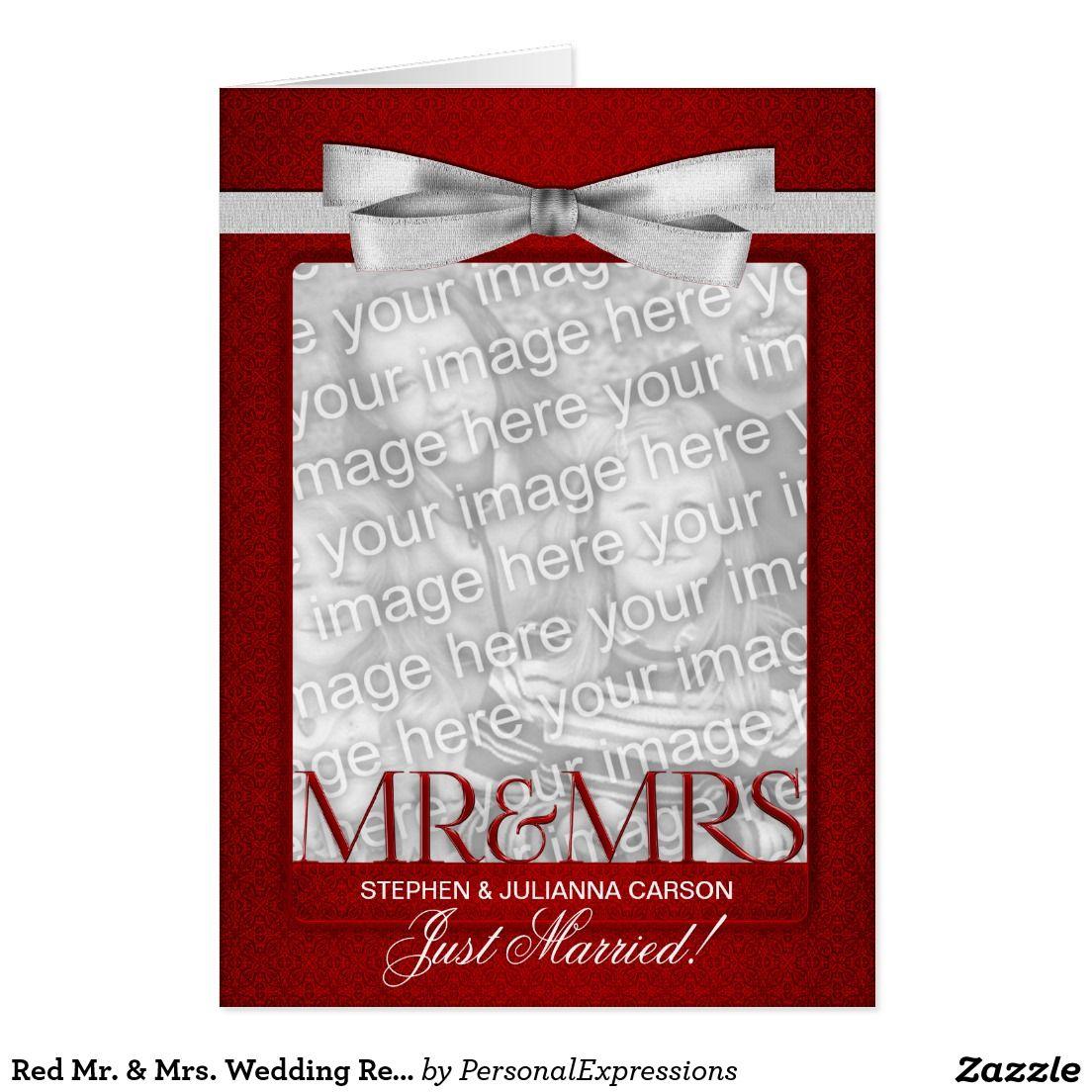 Red Mr. & Mrs. Wedding Reception Photo Invitation | Wedding ...