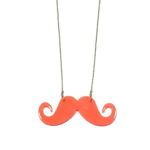 Colgante Moustache salmón - Gnomo