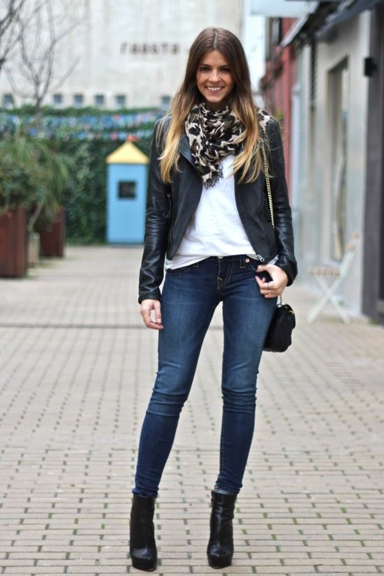 skinny jeans with ankle boots , great scarf and leather jacket