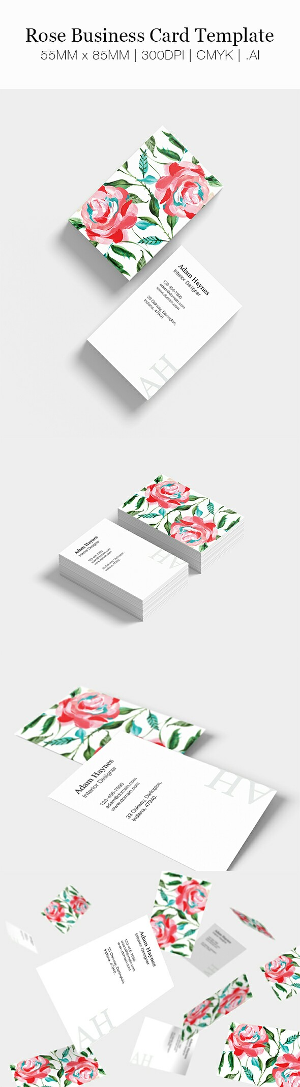Floral Business Card Template 85mm X 55mm Floral Business Cards Business Cards Minimal Simple Business Cards