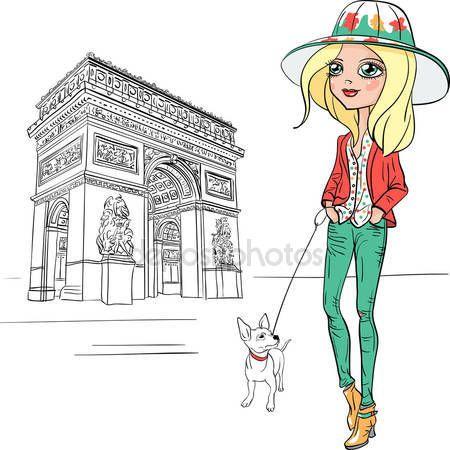 Descargar - Vector chica hermosa moda en París — Ilustración de Stock #65475709