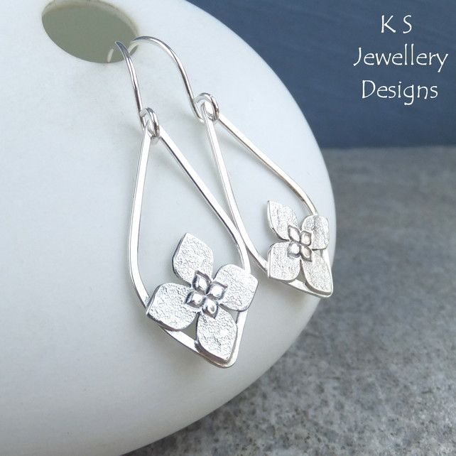 Framed Flower Drops Sterling Silver Earrings - Handmade Handstamped Metalwork £40.00