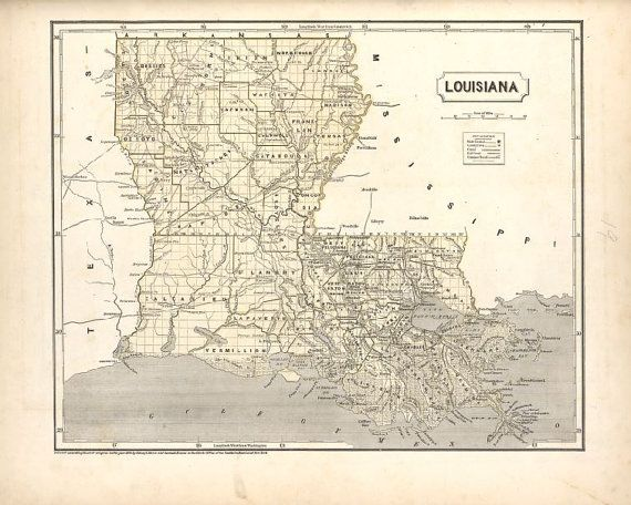 Vintage Louisiana Map 1845 Old New Orleans Map Historic Map