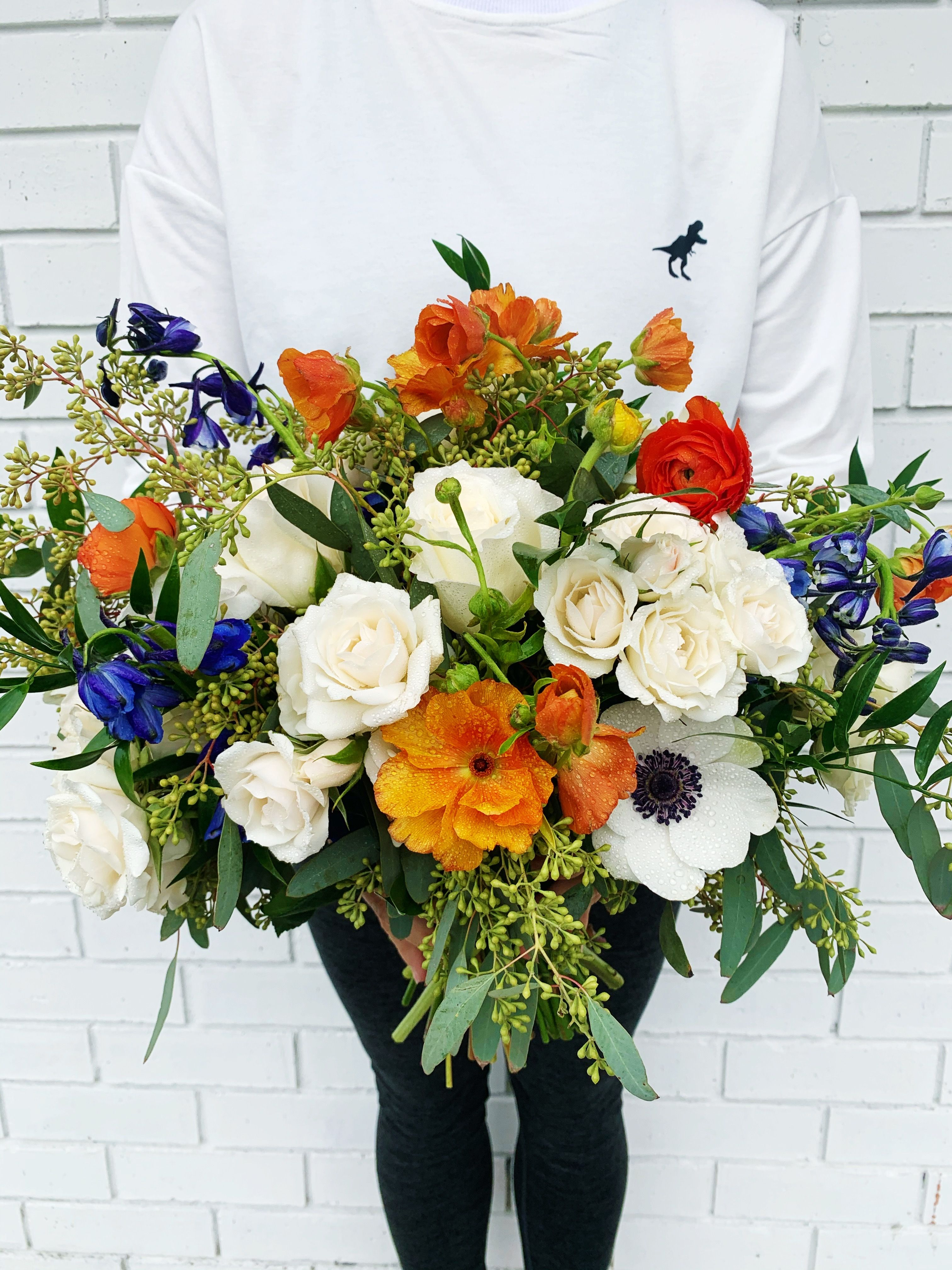 Violet Orange Flower Bridal Bouquet In 2020 Wedding Flower Packages Flower Packaging Bridal Bouquet
