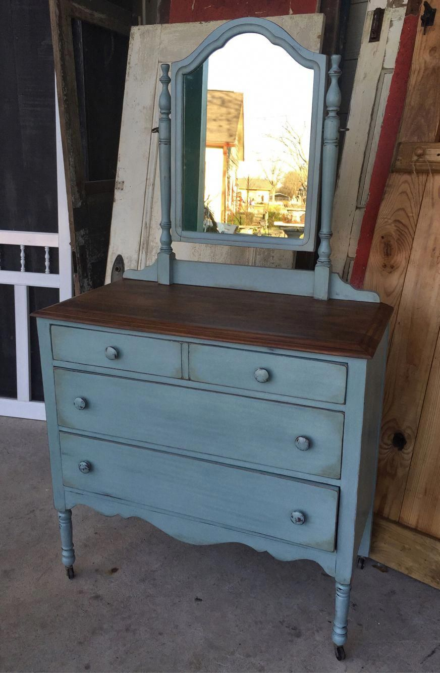 Vintage Chest Of Drawers With Mirror Painted With Annie Sloan Chalk Paint Duck Egg And W Refinished Vintage Furniture Diy Furniture Redo Paint Dresser Drawers