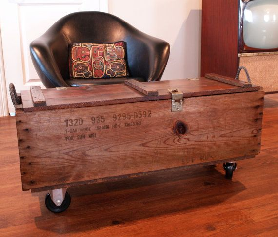 Industrial Furniture Wood Box Wooden Crate Coffee Table Bench Upcycled Vintage