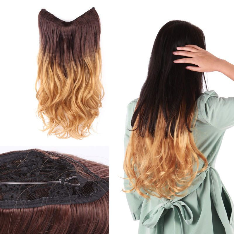 20 Ombre Flip In Invisible Wire Handband Hair Extension Brown To