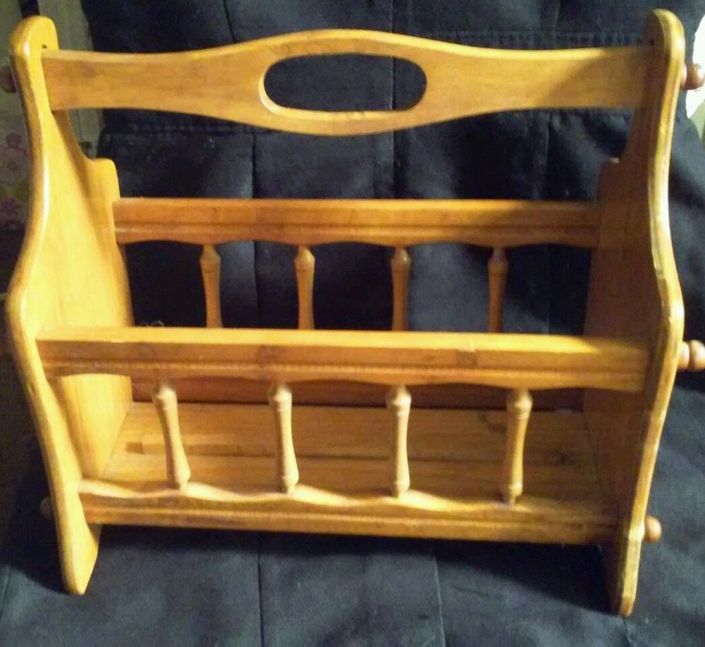 vintage interior magazine wooden wood s rack antique retro
