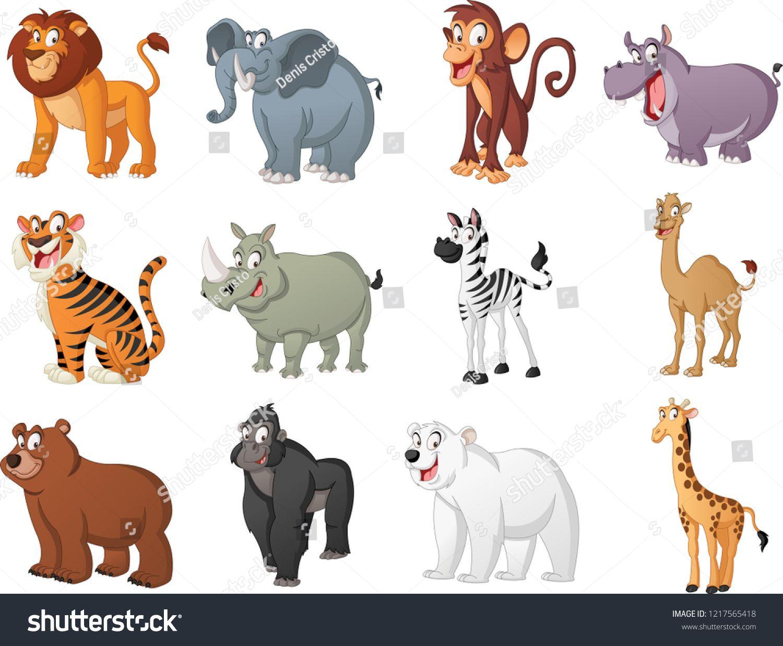 Group Of Big Cartoon Animals Vector Illustration Of Funny Happy Animals Cartoon Animals Group Big Cartoon Animals Happy Animals Cute Animal Illustration