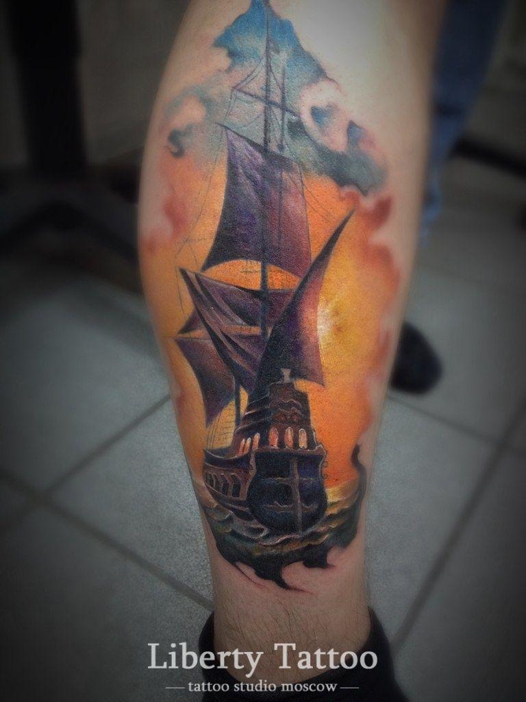 тату корабль на ноге фото крутые тату тату мужские татуировки