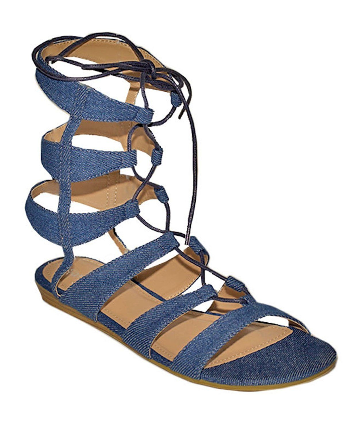 393641398 Gc Shoes Women s Amazon Denim Gladiator Sandals     If you love this ...