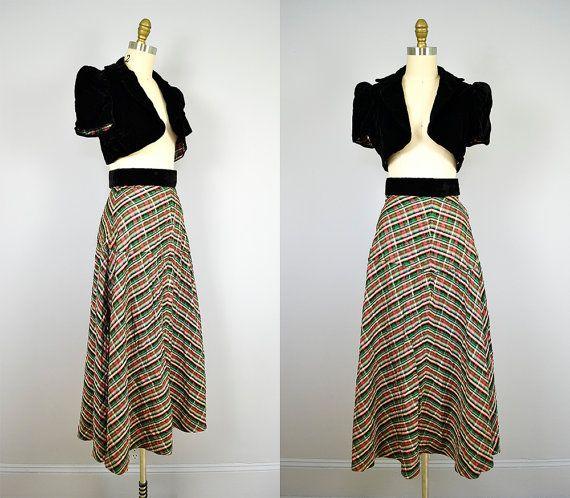 Vintage 1940s dress // 40s silk taffeta & velvet two piece evening ...