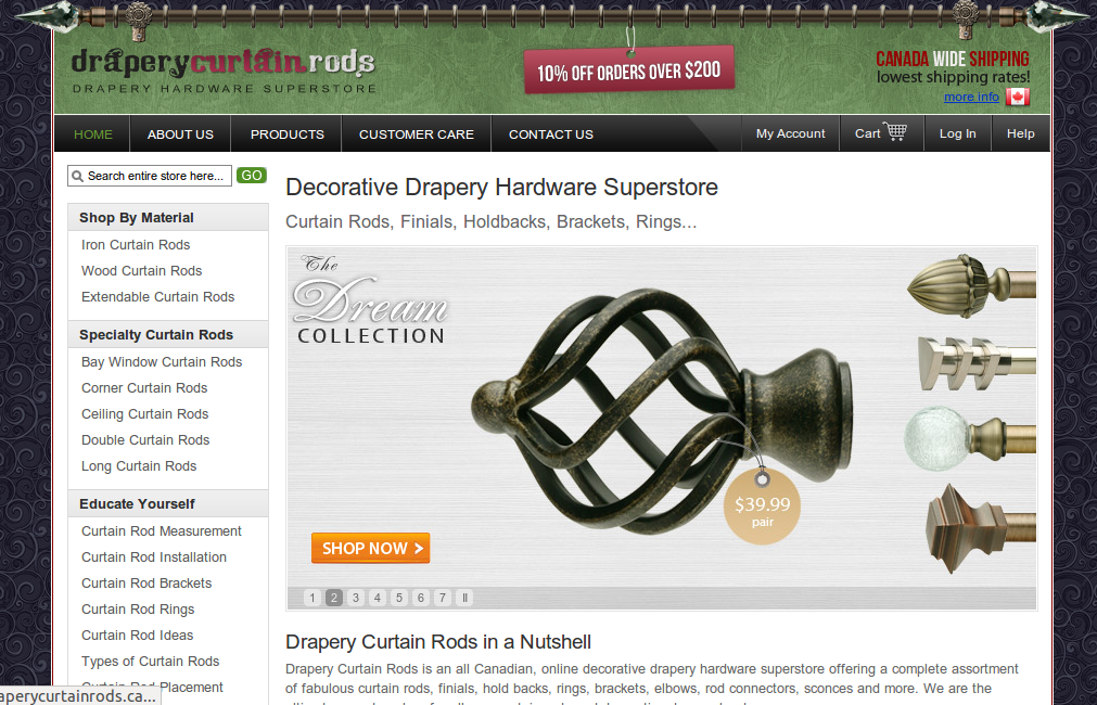 Drapery Curtain Rods sells quality decorative drapery hardware online. Designed by Wisevu.