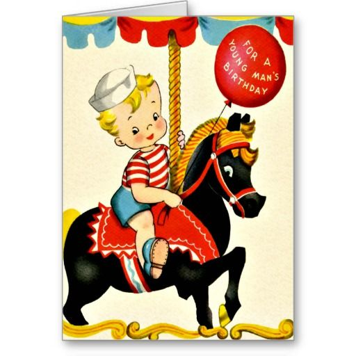 Carousel Ride  - Retro Little Boy Happy Birthday Cards