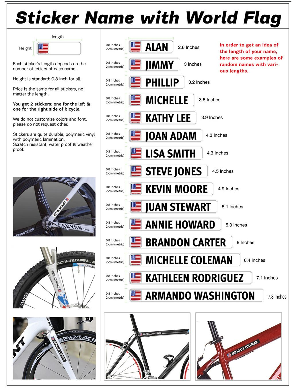 Printed Vinyl Bicycle Mountain Bike Name Label Flag Scotland Stickers Factory Bicycle Mountain Bike Bike Names Name Labels