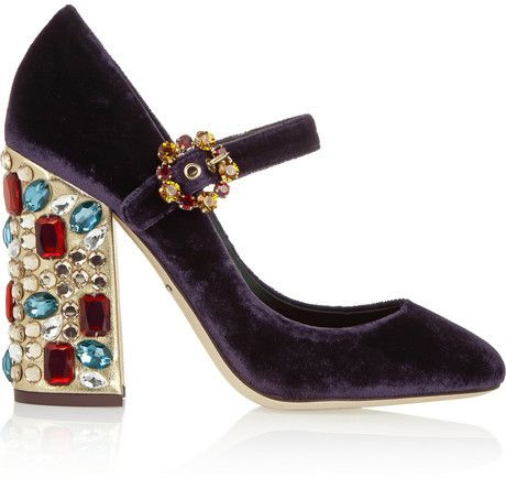 recommend Dolce & Gabbana crystal embellished velvet Mary Janes for cheap cheap excellent outlet the cheapest 6GnuzKKM