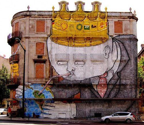 Mural realizado por Blu y Os Gemeos para el Festival Crono en Lisboa, Portugal