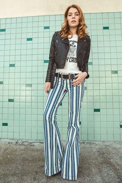 b1714562730e FREE PEOPLE Jolene Hip Hugger Stripe Flare Hippie Style