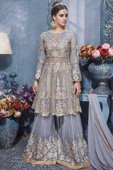 271bdaff0a0 Grey Heavy Embroidered Indian Women Fashion Net Fabric Party Wear Plazzo  Salwar Suit  plazzosalwarsuits  salwarkameez  jacketstylesuits   designersuits ...