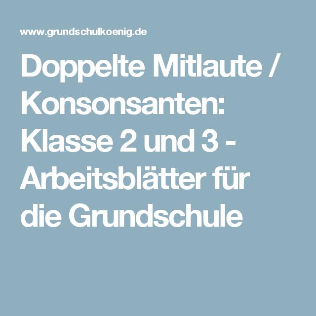 Doppelte Mitlaute / Konsonsanten: Klasse 2 und 3 - Arbeitsblätter ...