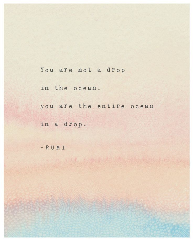 Rumi quote print, you are not a drop in the ocean, you are the entire ocean in a drop, Rumi poetry art, watercolor quote, gifts for her,