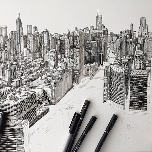 Weekend goal finish Chicago #art #drawing #pen #sketch