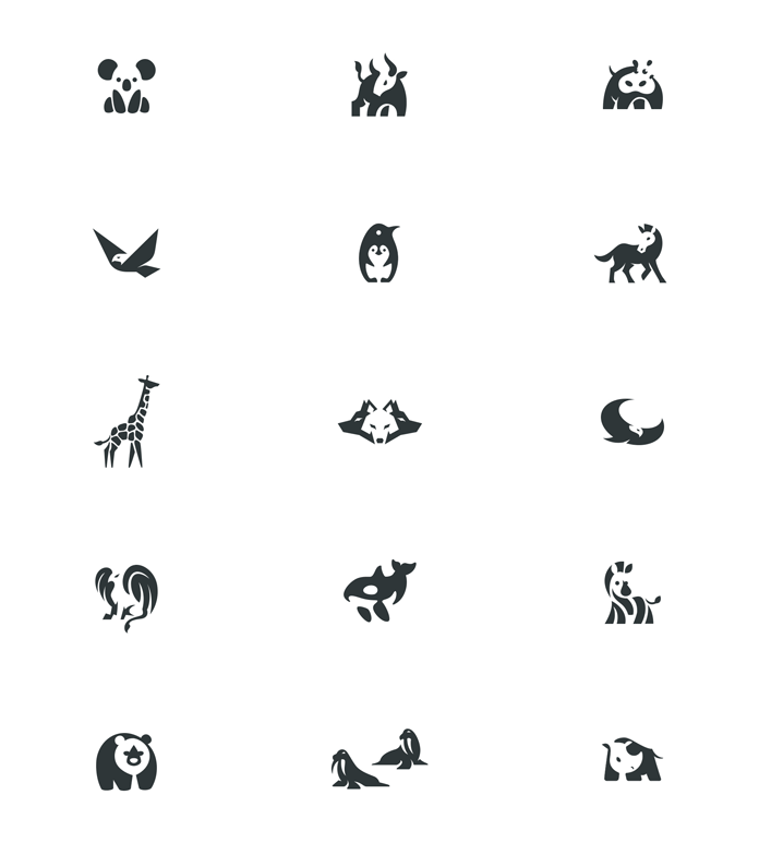 negative space animal logos by bodea daniel negative