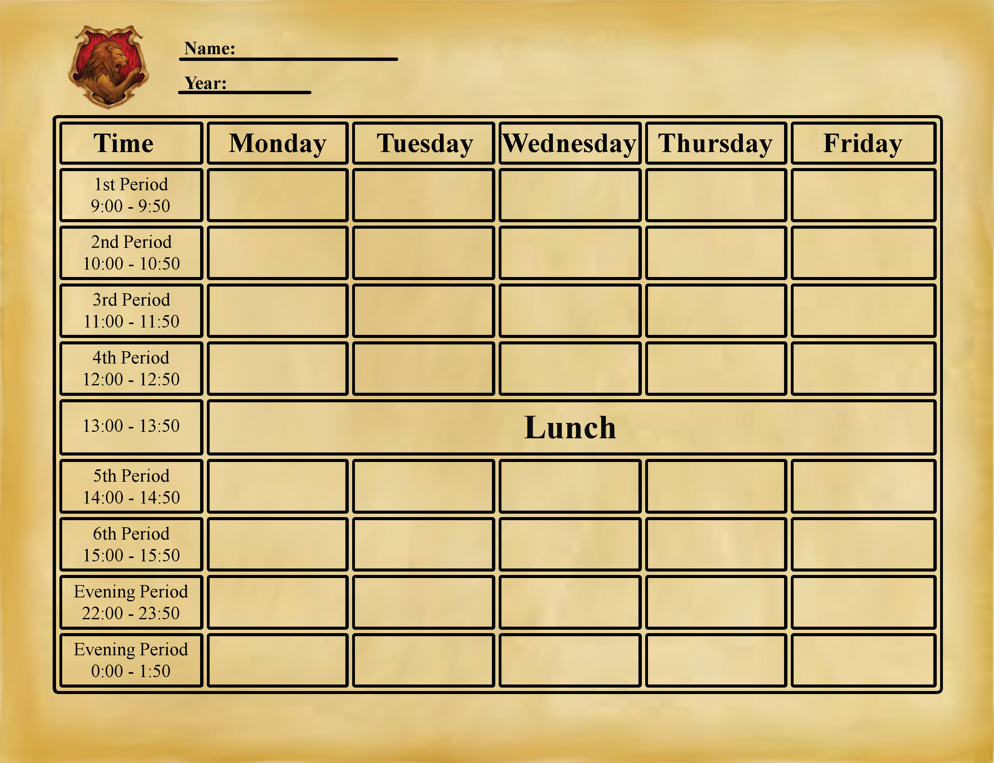 Hl Blank Timetable By Targebunny Harry Potter School Harry Potter Printables Harry Potter Planner