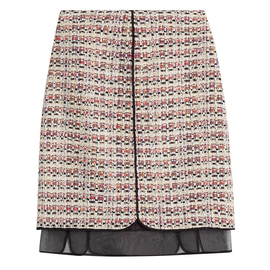 Jupe taille haute en tweed