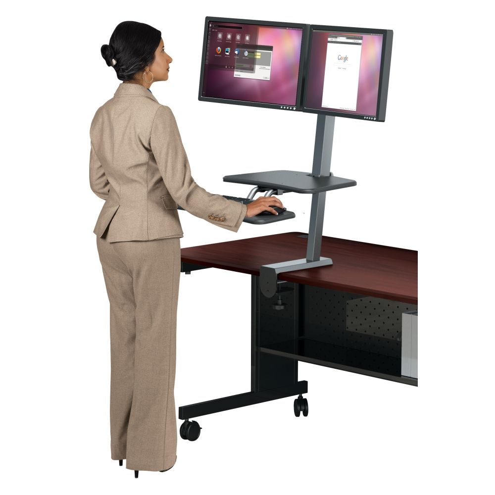 The Up Rite Desk Mounted Sit Stand Workstation Instantly Transforms Your Existing Into An Ergonomic Work E Allowing You To Or As