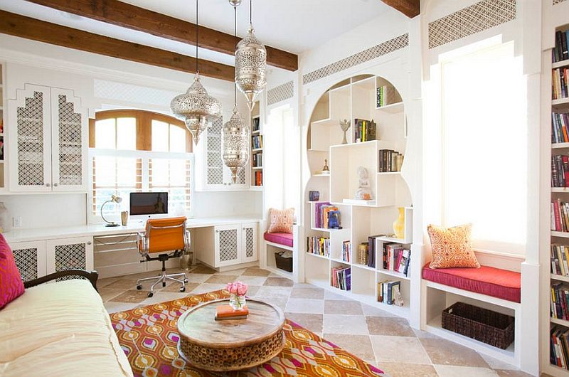 Multiple architectural details, curved doorways and Moroccan