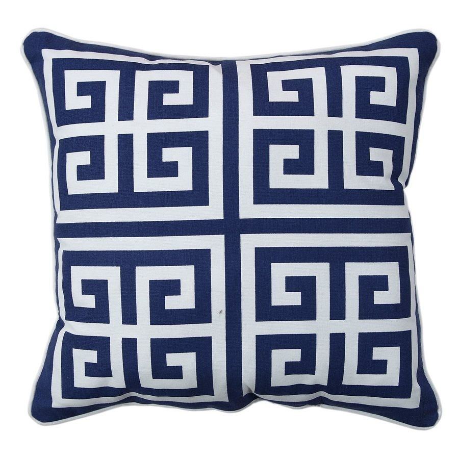 Shop Allen Roth Blue Greek Key Outdoor Throw Pillow At Lowe S