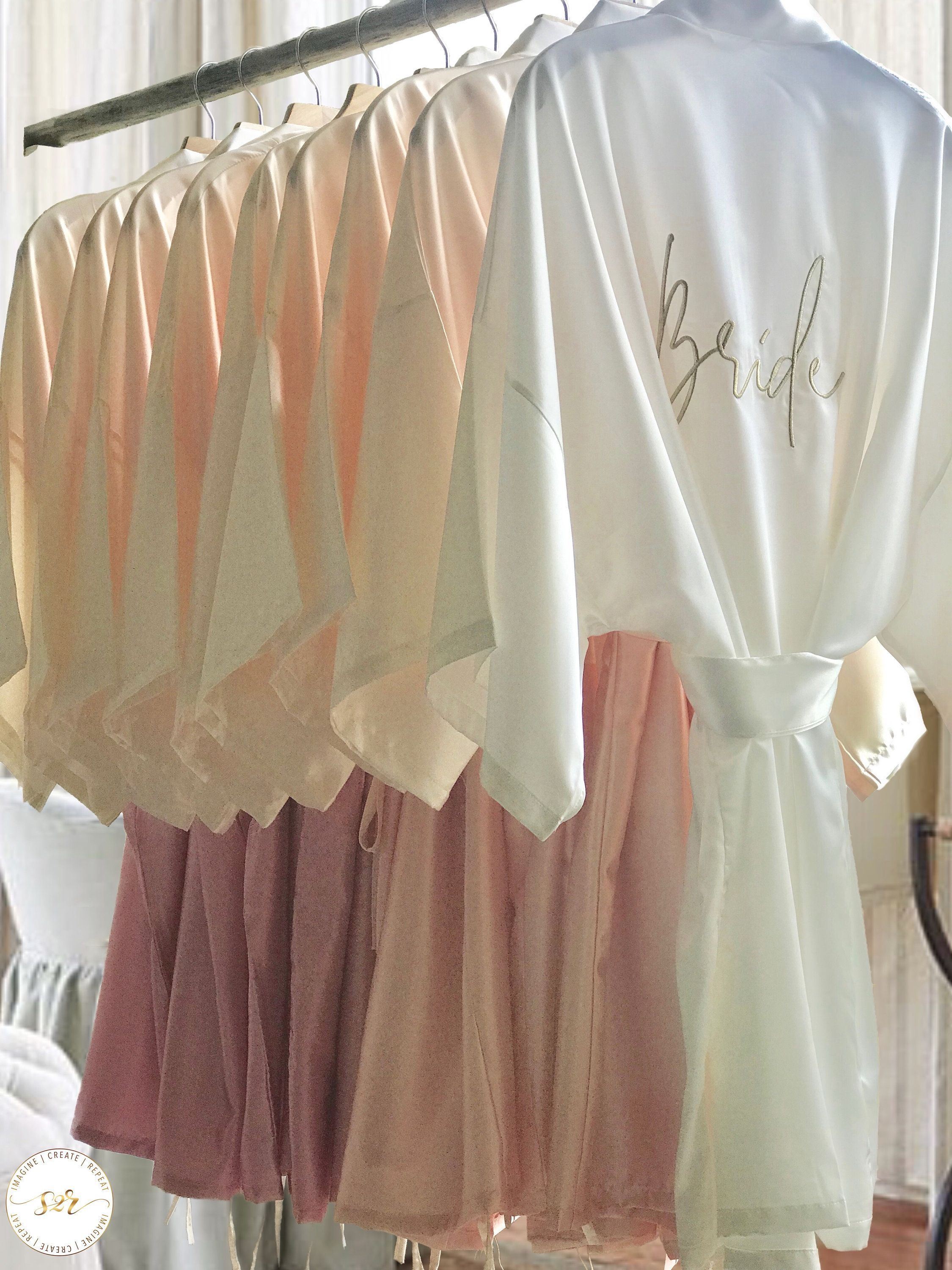 Bridal Robes,Bridesmaid Robes,Silk Robes,Satin Robes,Bridesmaid Proposal Gift,Bridesmaid Gifts,Bridal Party Robes,Maid of Honor,Ombre Robes